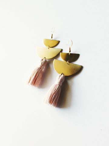 DIVIDE Tassel Earrings in Blush