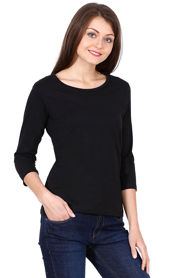 Woman Plain Full Sleeves - Black - The Atom Stores
