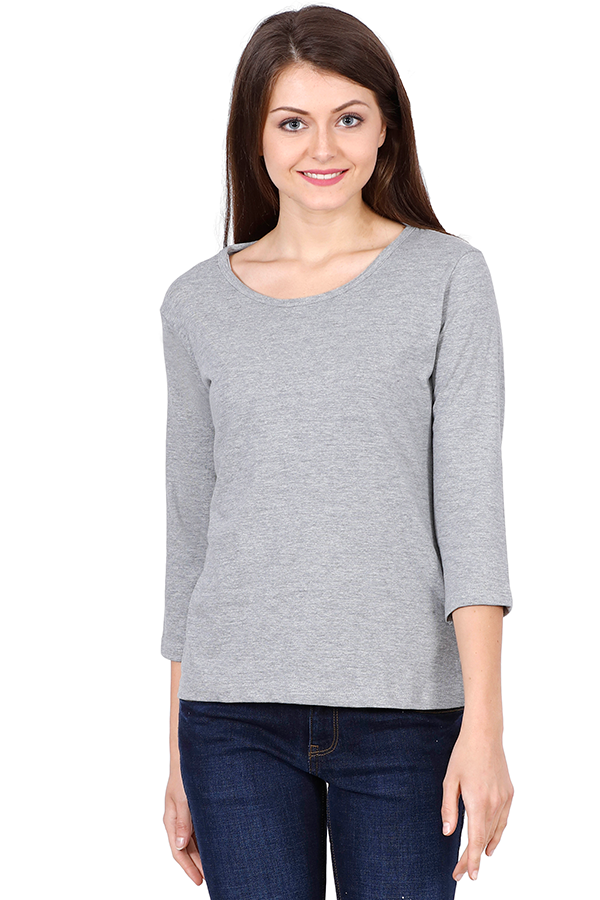 theatomstores1,Woman Plain Full Sleeves - Gray Melange,Women plain Full sleeves