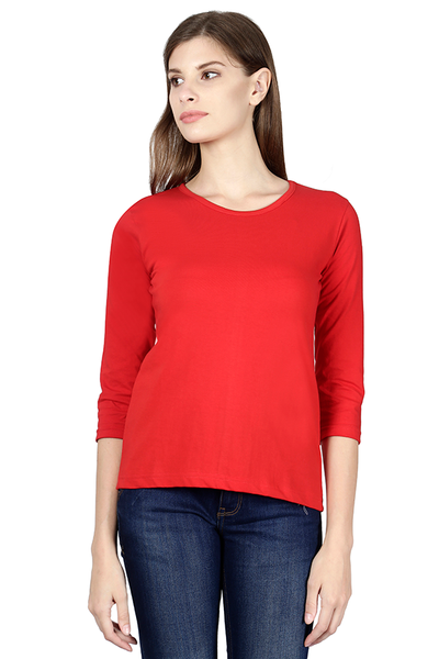 Woman Plain Full Sleeves - Red - The Atom Stores