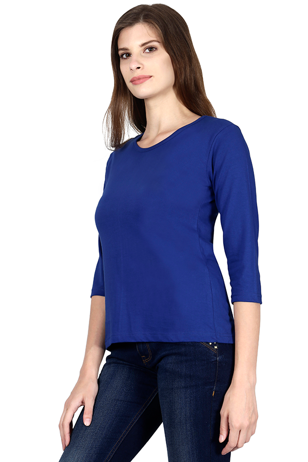 Woman Plain Full Sleeves - Royal Blue - The Atom Stores