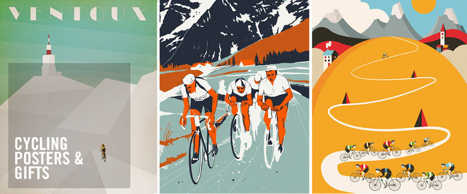 Cycling poster art and cycling gifts