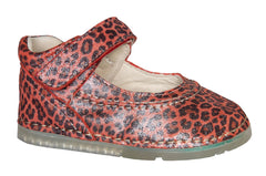 "Madrid Velcro Mary Jane in ""Wild"" Red Leopard Print Leather"