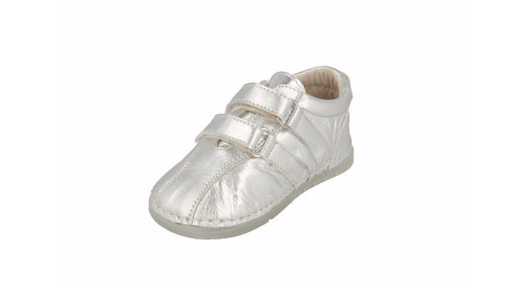 Barcelona Velcro Sneaker in Silver Metallic Leather