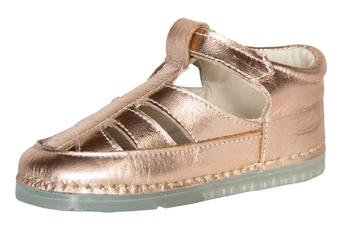 Ibiza Sandal in Rose Gold Metallic Leather