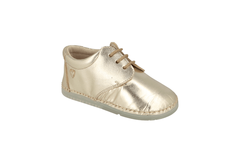 Lorca Lace Up Shoe in Champagne Metallic Leather