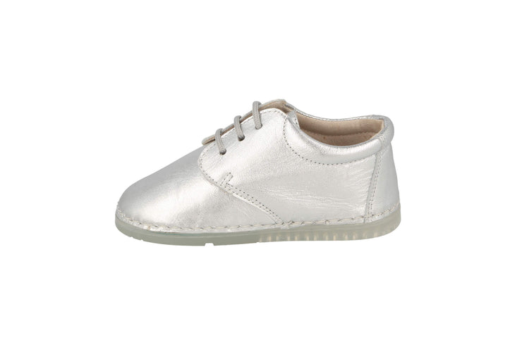 Lorca Lace Up Shoe in Silver Metallic Leather