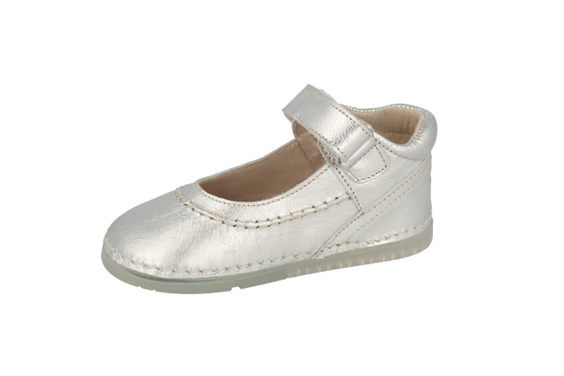 Madrid Velcro Mary Jane in Silver Metallic Leather