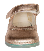 Madrid Velcro Mary Jane in Rose Gold Metallic Leather