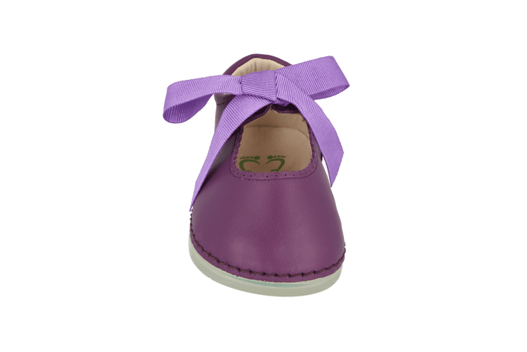 Malaga Mary Jane with Bow in Violet Leather