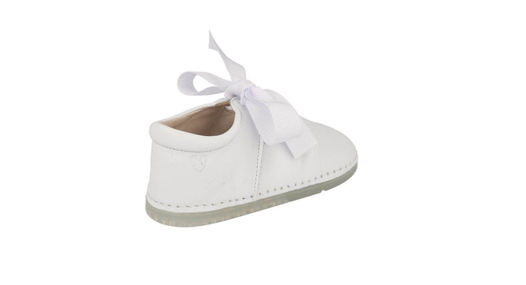 Malaga Mary Jane with Bow in White Leather