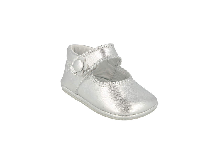 Salamanca Mary Jane in Silver Metallic Leather
