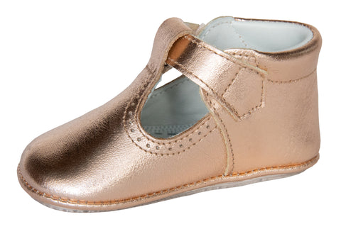 Santiago T-Bar in Rose Gold Metallic Leather