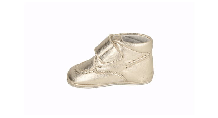 Sax Velcro Bootie in Champagne Metallic Leather