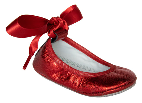 "Segovia Ballerina Flat in Red Metallic ""Dorothy"" Leather"