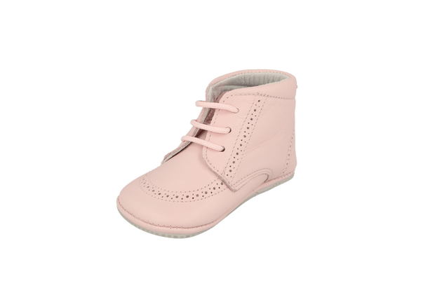 Sevilla Lace Up Bootie in Pink Leather