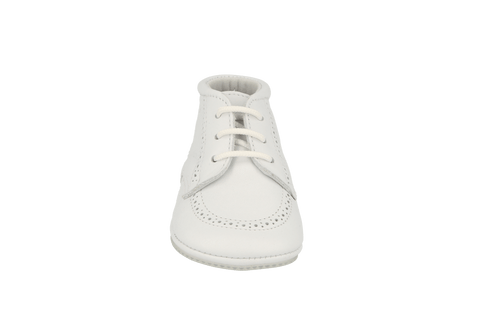 Sevilla Lace Up Bootie in White Leather