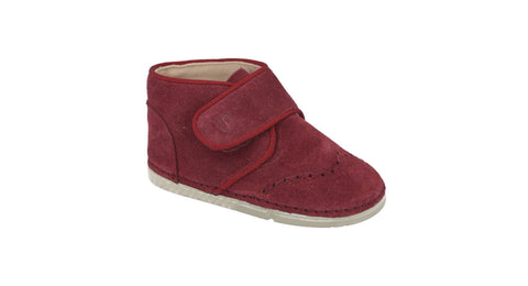 Valencia Velcro Brogue Boot in Burgundy Suede