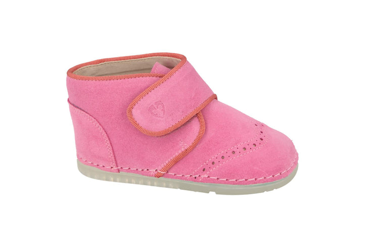Valencia Velcro Brogue Boot in Fuchsia Suede