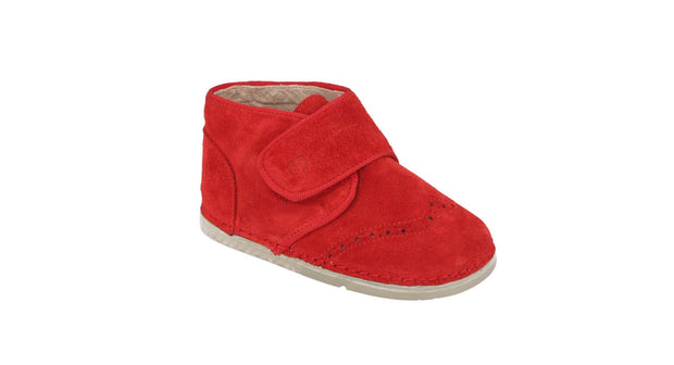 Valencia Velcro Brogue Boot in Red Suede