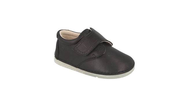 Villena Velcro Monk Shoe in Black Leather