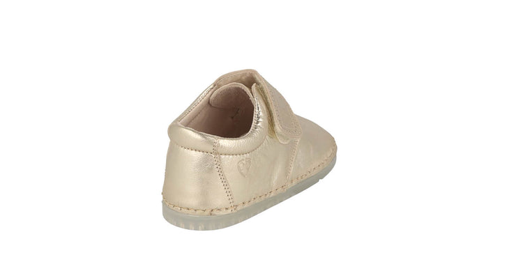 Villena Velcro Monk Shoe in Champagne Metallic Leather