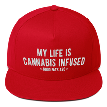 Load image into Gallery viewer, My Life Is Cannabis Infused Flat Bill Snapback