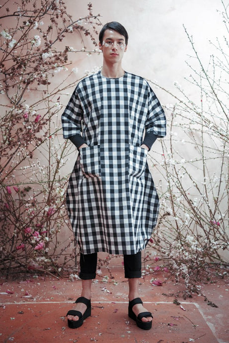 SUPER GINGHAM DECONSTRUCTED UNISEX COCOON DRESS