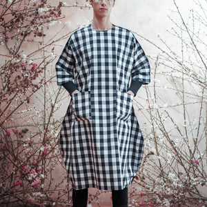 SUPER GINGHAM DECONSTRUCTED UNISEX COCOON DRESS TYPE-A