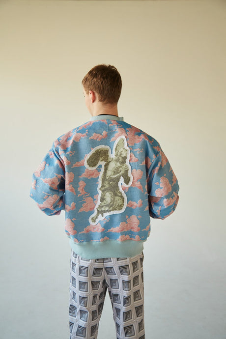 SUPERSKY JACQUARD BOMBER W/ XL CROSS-STITCHED ANGEL PATCH
