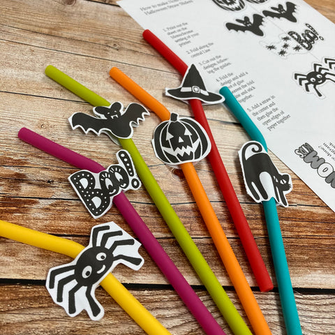 Silicone straws with some paper halloween cut outs