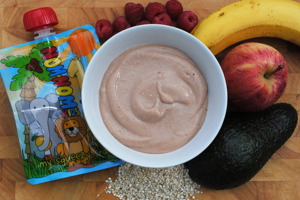 Nom Nom Kids Reusable Food Pouches Raspberry apple and avocado pudding image