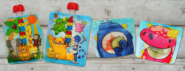 nom nom kids reusable food pouch collection