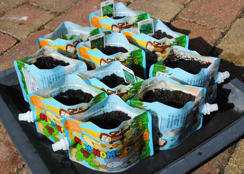 Nom Nom Kids Reusable Food pouches upcycled herb planters