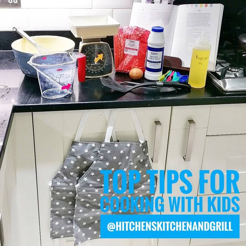 top tips for cooking with kids, kitchen set up ready to start cooking