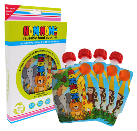 Reusable Food Pouch - 140ml Animal Pouches x 4 by Nom Nom Kids