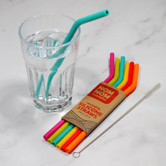 6 Reusable Silicone Straws