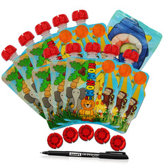 Reusable Food Pouches from Nom Nom Kids.  Weaning kit comprising of 10 Animal themed 140ml Reusable food pouches, 5 spare caps, 1 pen and a snack bag