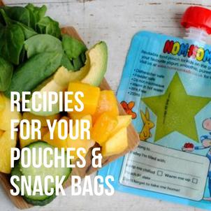 Nom Nom Kids Reusable food pouch and reusable snack bag recipes