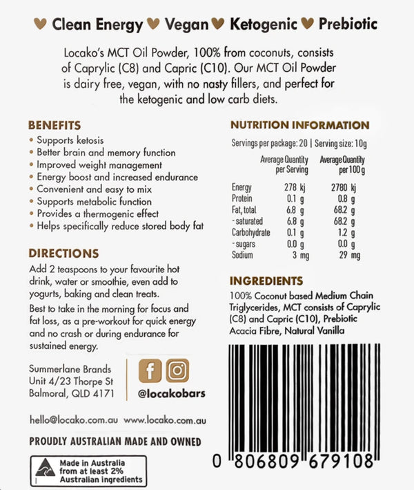 Locako MCT Oil Powder Vanilla - keto