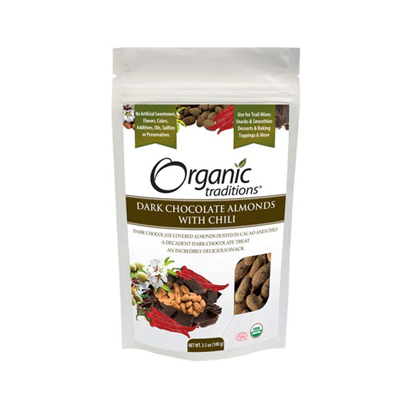 Organic Traditions Dark Chocolate Almonds w Chili 100g