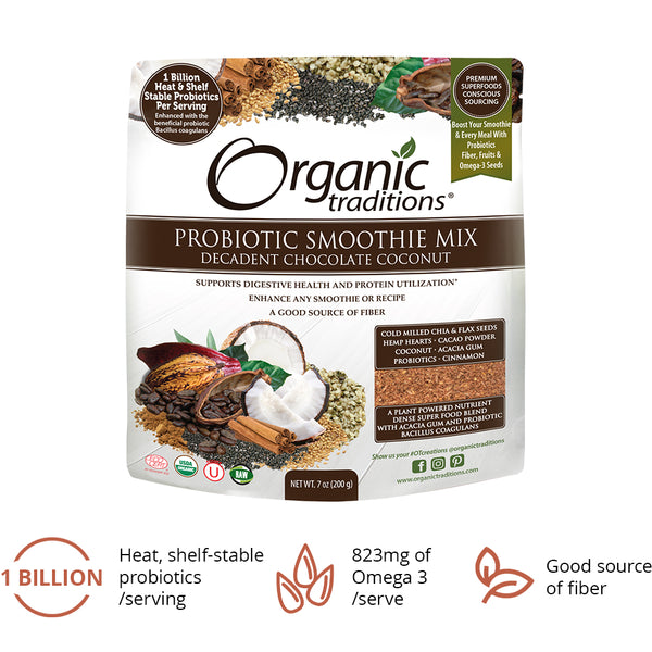 Organic Traditions Probiotic Smoothie Mix Choc Coconut 200g