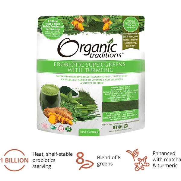 Organic Traditions Probiotic Super Greens 100g