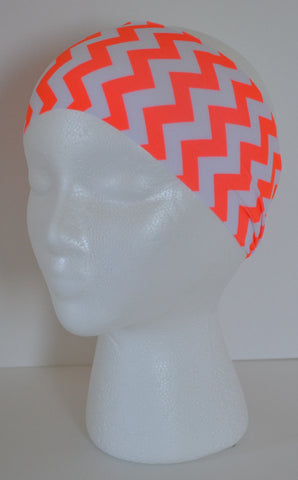 Hot Coral and White Chevron Spandex Headband