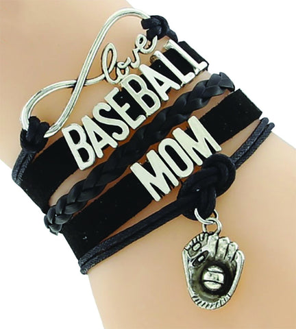 Baseball Mom Bracelet - Black/Silver