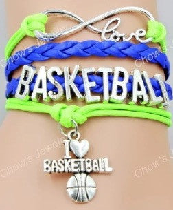 Basketball Bracelet - Neon green/Blue
