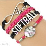 Softball Infinity Bracelet - Black/Pink