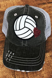 Volleyball Trucker Hats with Glitter Heart