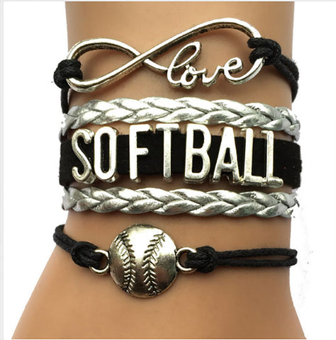 Softball Bracelet - Silver/Black