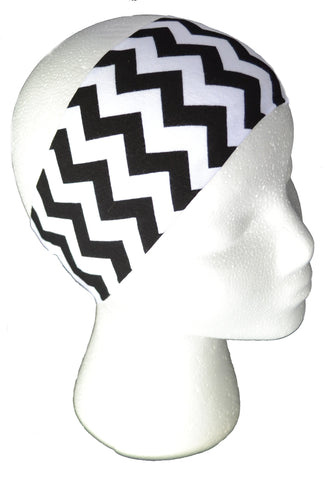 Black and White Chevron Spandex Headband